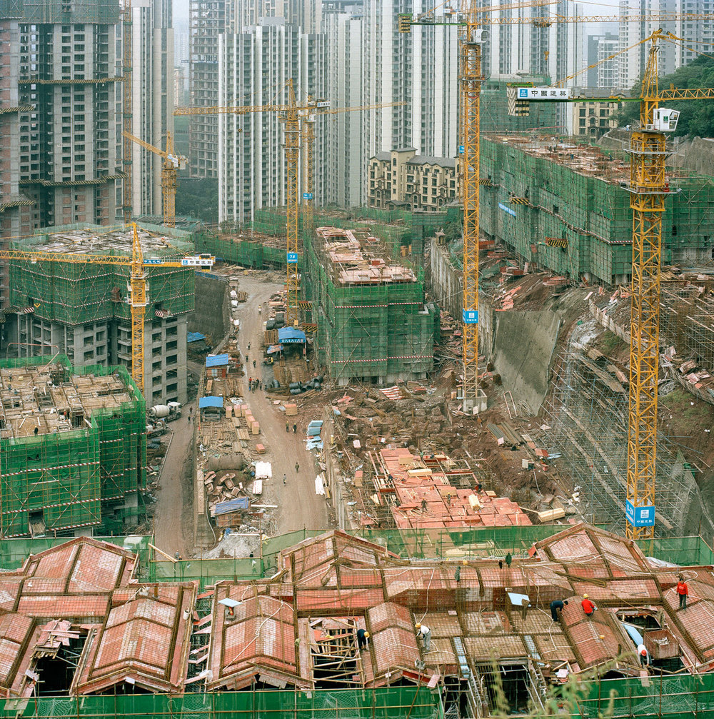 A giant housing development construction site in the new district of Jiangbei in Chongqing