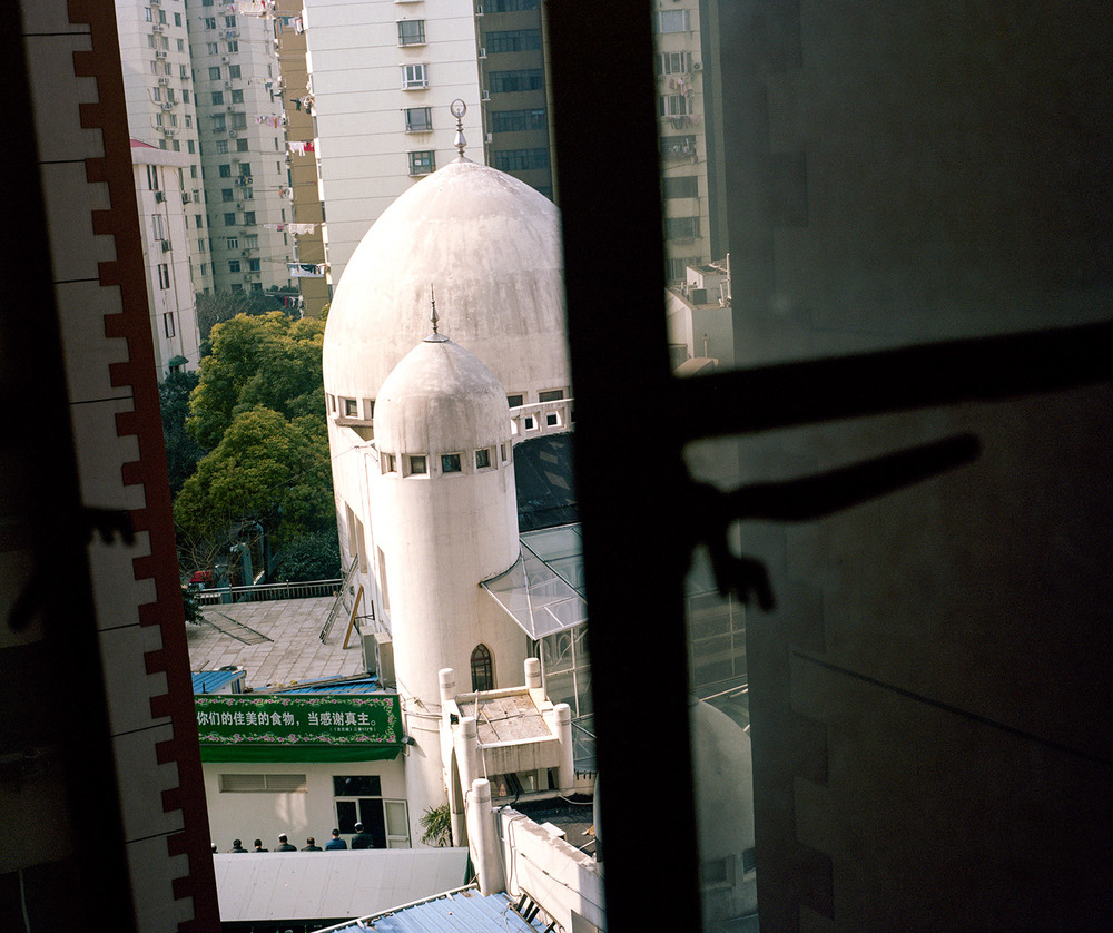 The Shanghai Mosque viewed from on of the housing tower window.