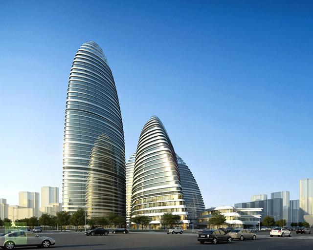 here is a render of the original project currently being finished in Beijing  | render from Zaha Hadid