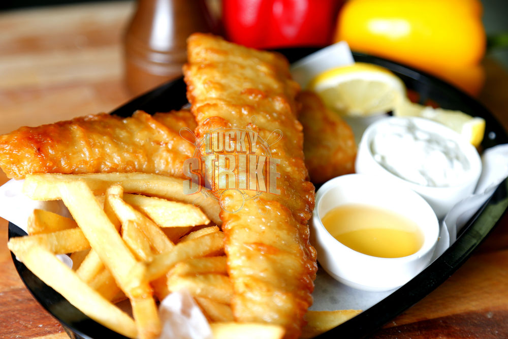WASHOUT FISH & CHIPS                                              35   Lightly battered fish, served with chips, malt vinegar & tartar sauce
