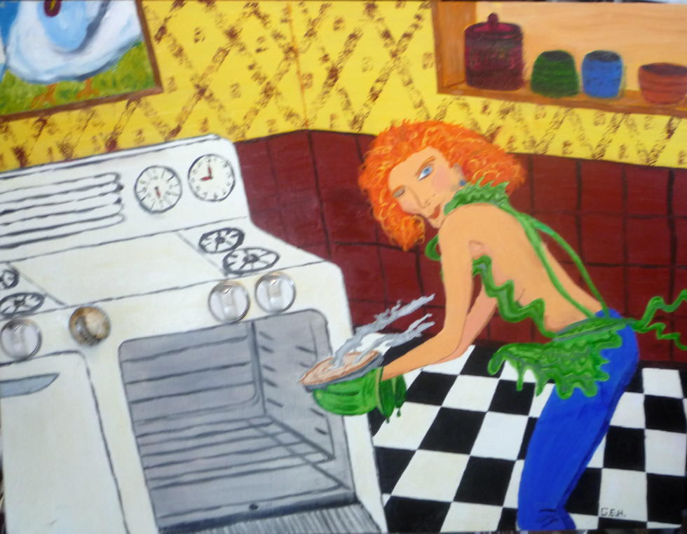 The Cook in the Kitchen 26 X 36 inches - Oil on Canvas.JPG