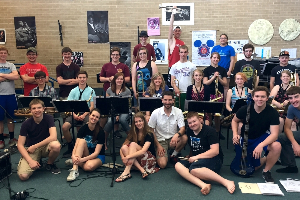 Nathan LeFeber, center, and Kearney High Jazz Band 2015