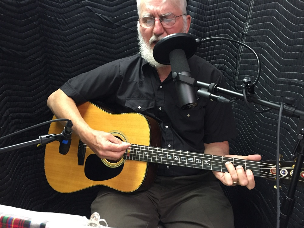 Art Hansen recording one of his original folk pieces at A Noteworthy Studio in Kearney in May.