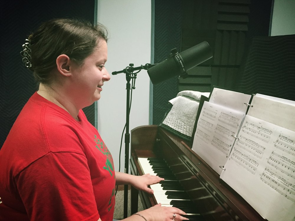Alisha DeBey records eight original songs at A Noteworthy Studio in Kearney, Nebraska in September 2016.