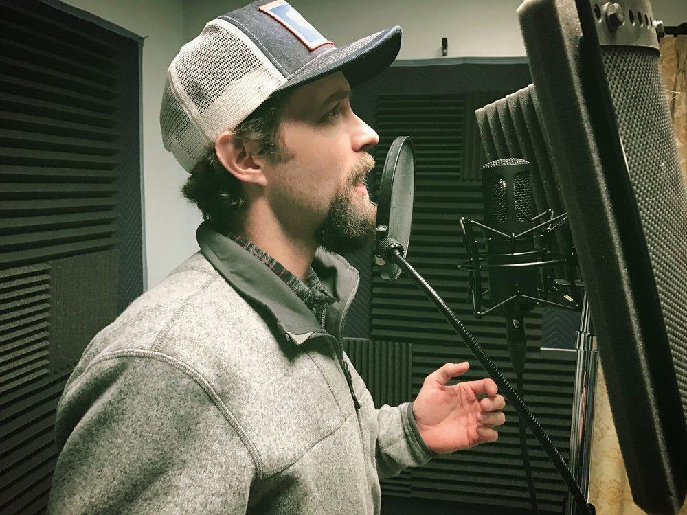 Jake Riley records his poetry at A Noteworthy Studio in Kearney, Nebraska in winter of 2016.
