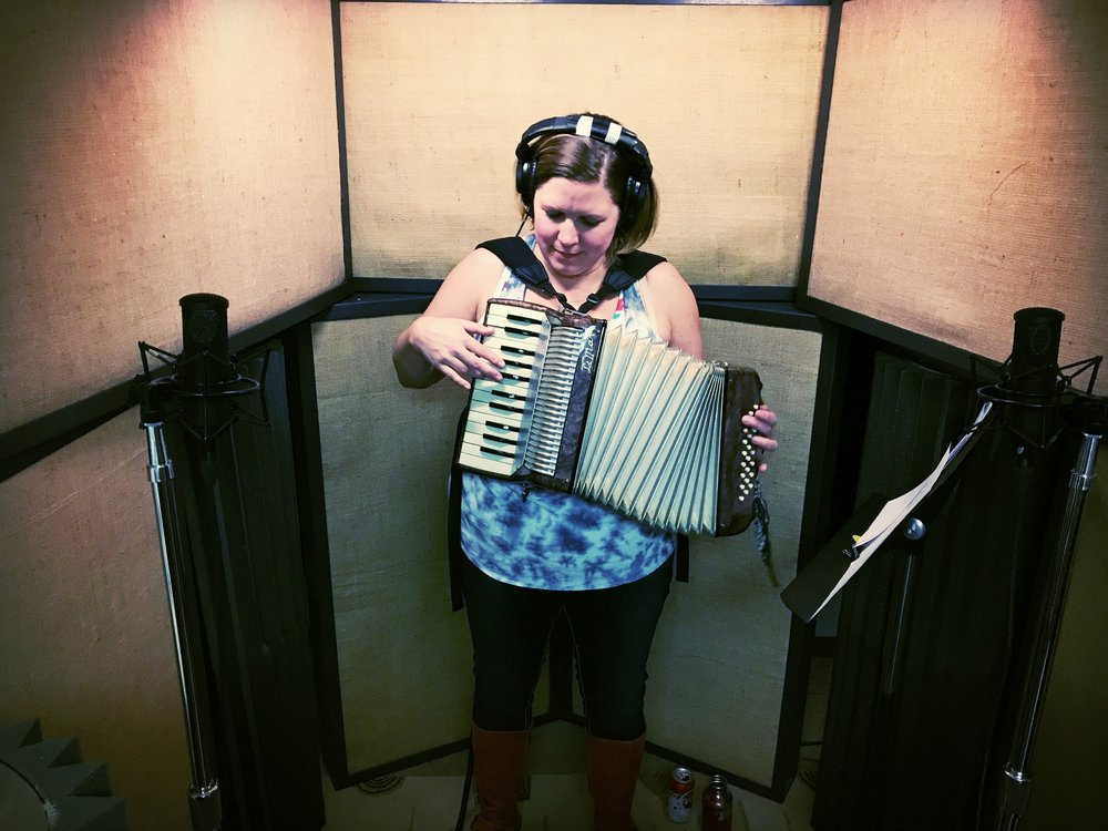 Emily Dunbar recording accordion parts for her solo album at A NOTE-Worthy Studio in Kearney spring 2017.