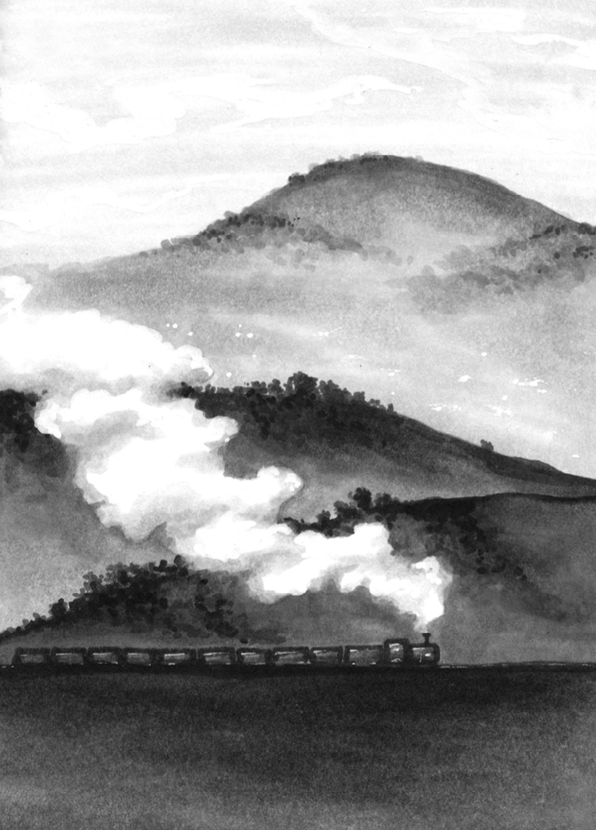 Hollow         by  Lesley Parr ( age range: 8-12)    Excerpt from story:  '  Massive, looming bulges of land – mountains I suppose – have stolen most of the sky. I turn on the spot. They're all around, as though the village was dropped into the middle of a big, fat cushion.'     Blurb: London lad Jimmy is evacuated to a South Wales mining village. Forced to live with strangers, he feels lost. Then he finds a human skull hidden in a hollow tree. As Jimmy pieces together the truth, secrets, as long-hidden as the bones, rise to the surface…   Author's brief: Mountains/valley/steam train, NOT the skull please or it will look like a horror story! Here's an image that may help. Thank you.   Illustration: This was one of the additional illustrations I made, and as I was pleased with the outcome of using alcohol markers as a dry substitute for watercolour, I decided to tackle another scenic brief in a similar way to  Feather and Fox . Again, though the brief mentions an image, one was not actually provided, and as I had to work quickly I decided to simply do what I thought best. This involved looking up photographs of Welsh mountains and valleys, as well as steam trains - though I didn't want the train to be a huge focus as I wanted the steam and mountains to create a strong atmospheric representation of the story. For this illustration and  Feather and Fox , I wanted to invoke a strong sense of place and feeling, similar to what David Hockney produced in his Yorkshire Sketchbook ( example 1 ,  example 2 ,  example 3 ). No feedback for this one, but it was selected for the anthology.
