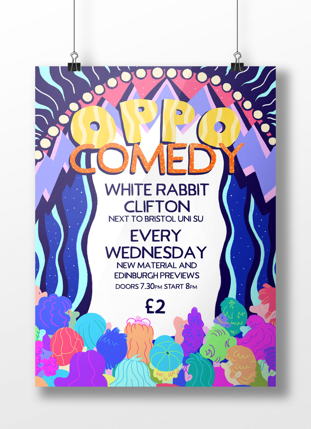A mockup of the Oppo Comedy poster design, as it might be hung.