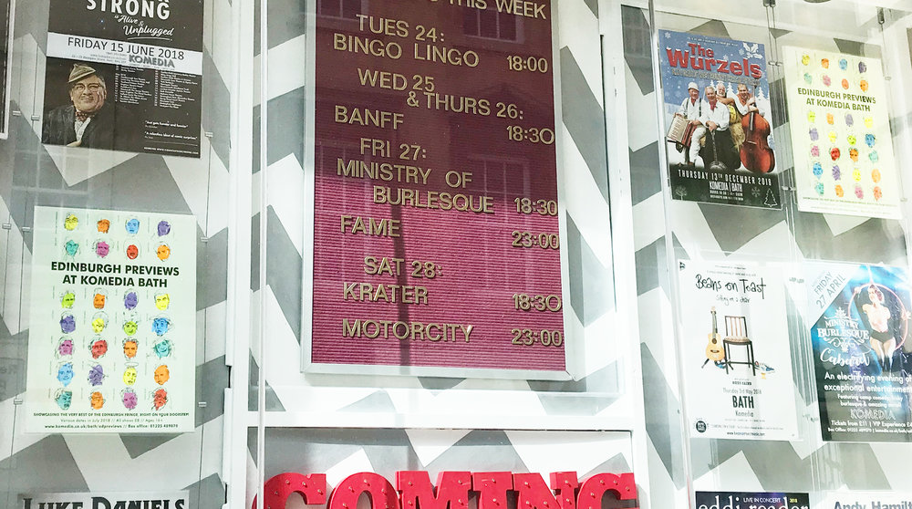 The Komedia poster displayed outside the venue in Bath.