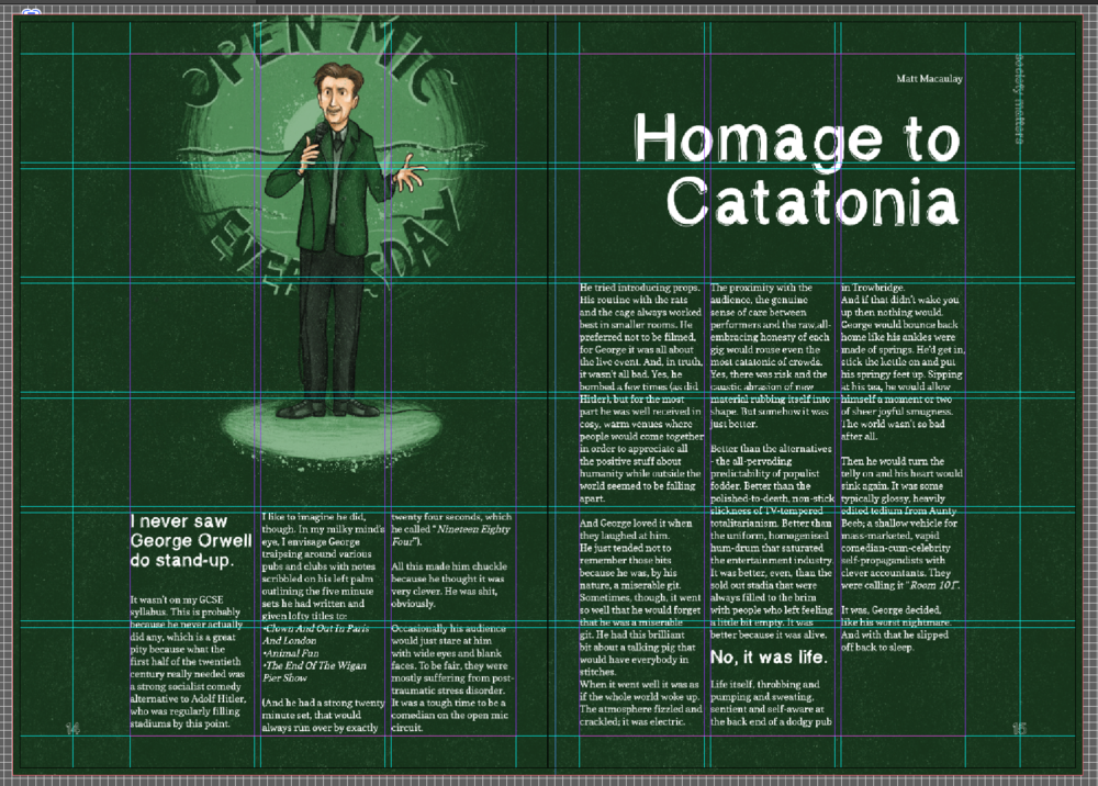An example spread from the magazine, demonstrating the grid I used.