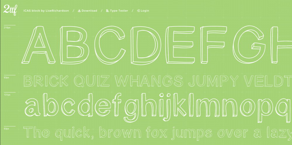 An example of the font I created,  ICAS block .