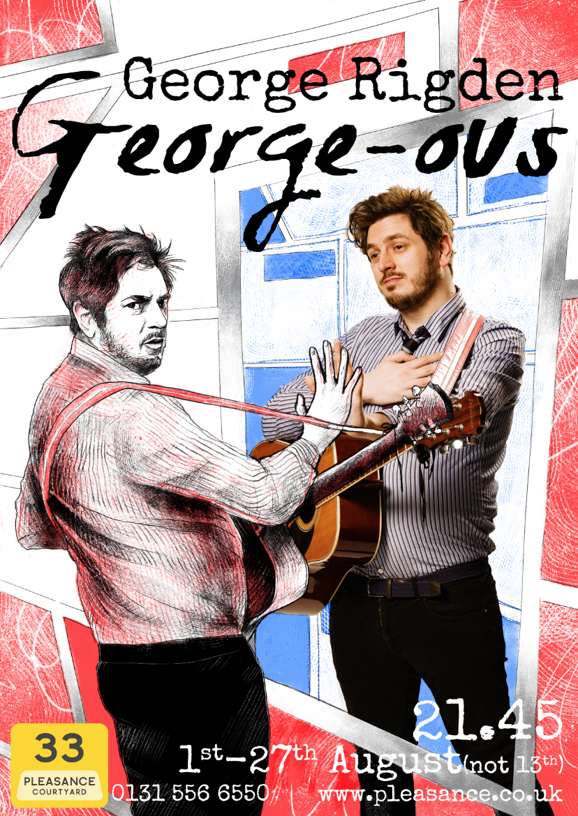 An early colour test of the poster. I presented both this and the version on the right to George, and we both agreed that the black and white image with coloured text was the best option.