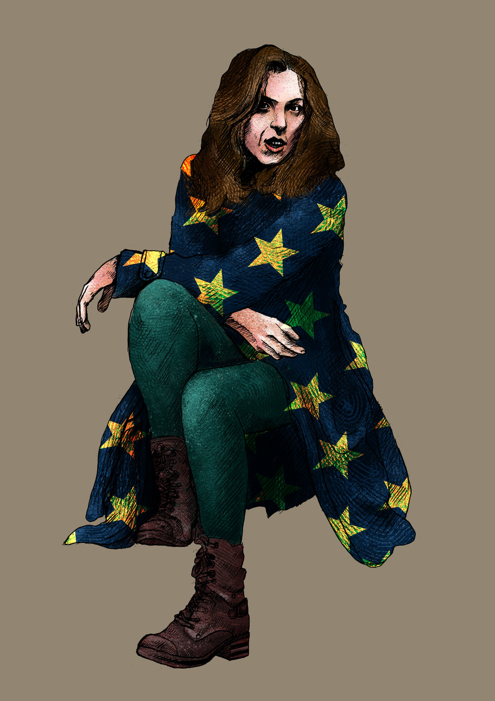 The illustration for the Bridget Christie poster without type.