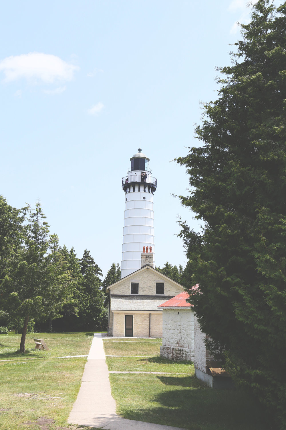 Cana Island Lighthouse on Cana Island is one of the few lighthouses still functioning on Lake Michigan, and still retains its original lens.