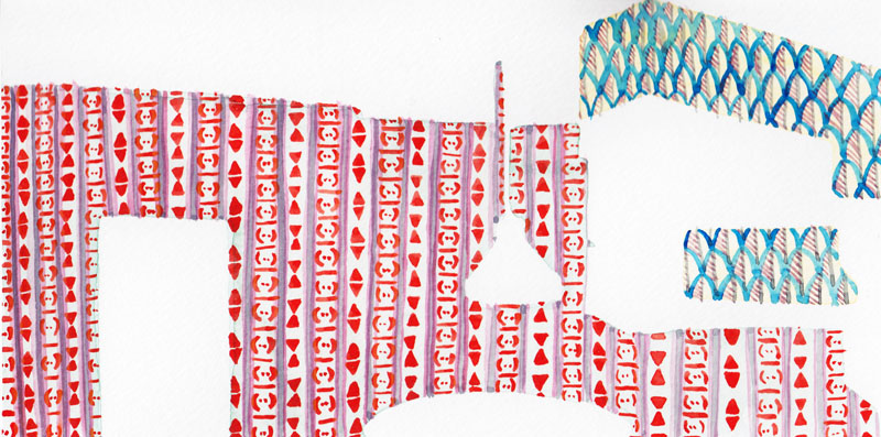 Red Triangle Wallpaper :: 2012 watercolor 9.5x4.25 SOLD