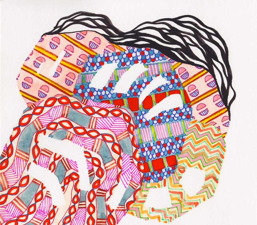 Black Pattern Watercolor #6 :: 2013 watercolor, ink, marker and colored pencil on paper SOLD
