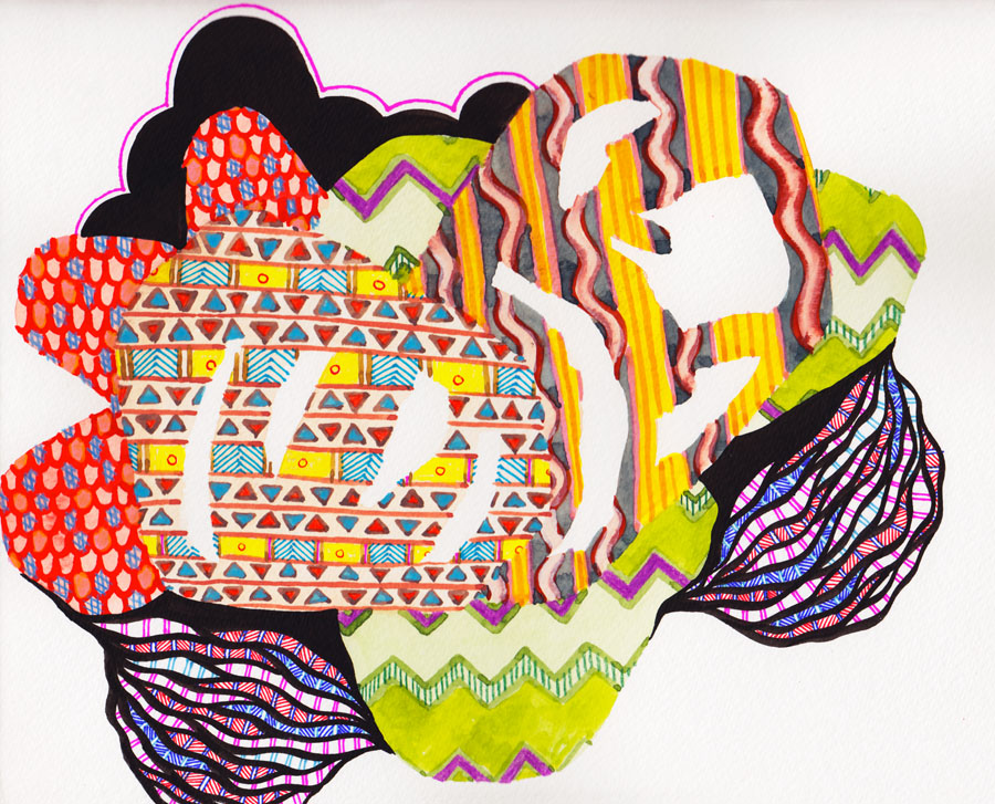 Black Pattern Watercolor #7 :: 2013 watercolor, ink, marker and colored pencil on paper SOLD