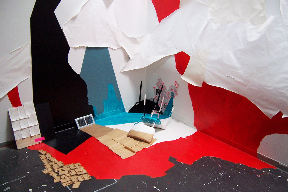 Adapted 2008 site-specific installation at University of Washington, 12x12x10 ft, paint, wood, paper, tape, found objects