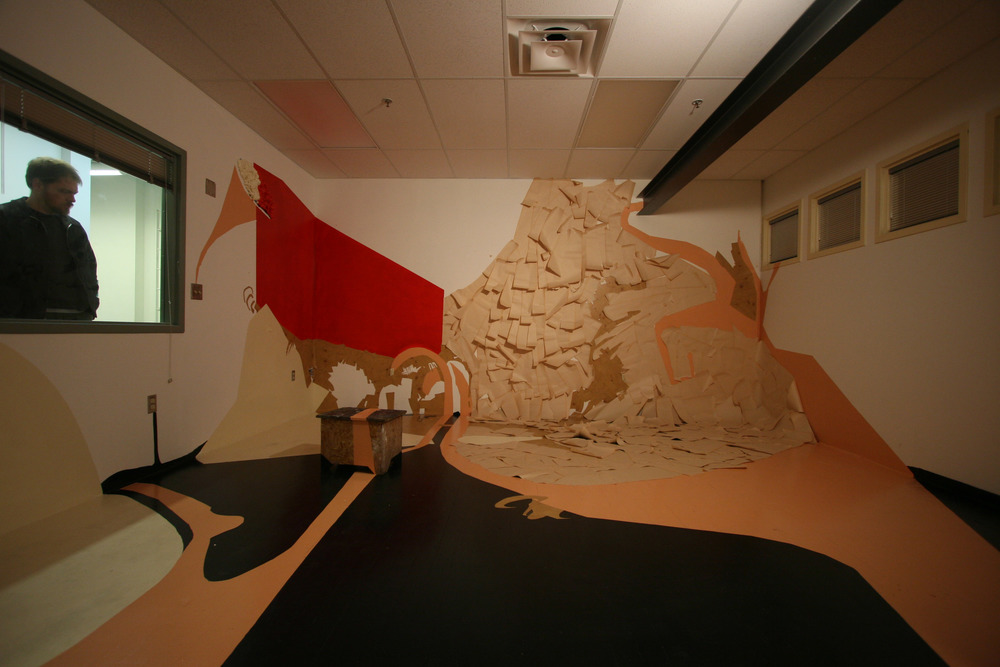Untitled 2008 site-specific installation at University of Washington, 25x15x10 ft, paint, paper, found objects, vinyl, fabric Photo: Denny Trimble