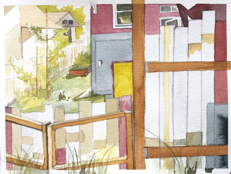 "The Yard That Chauney Showed Me :: 2010 watercolor 7x5"" SOLD"