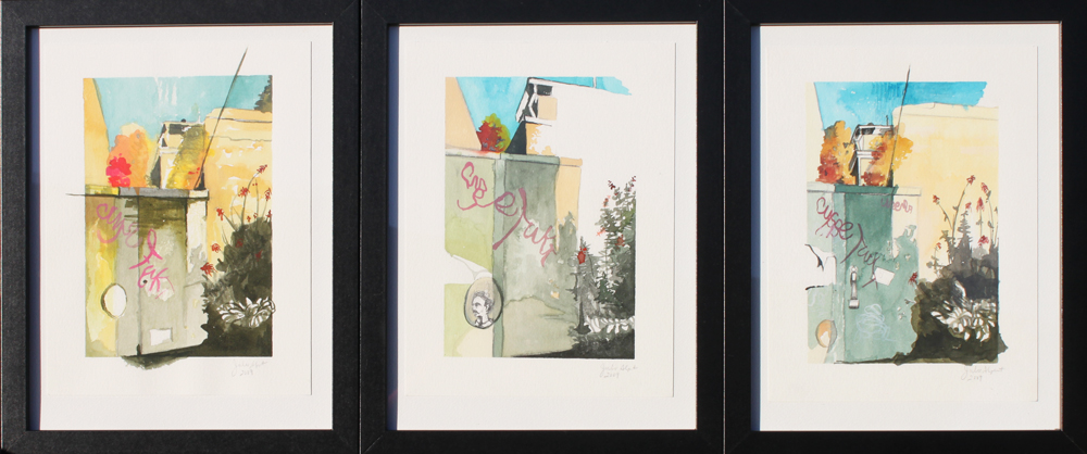 "Electrical Box Graffiti :: 2010 watercolor triptych 15x7"" SOLD"