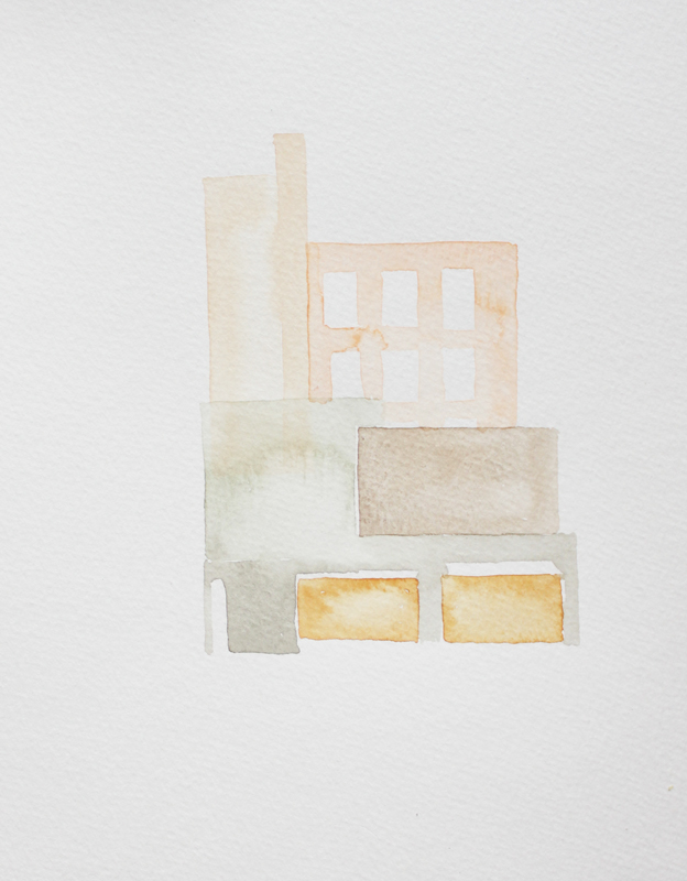 "Yellow Dumpsters :: 2010 watercolor 7x5"" SOLD"