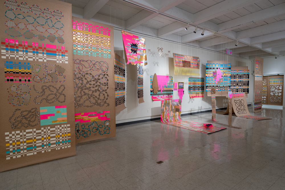 Neatly Packaged, 2018 site-specific installation, craft paper, seamless backdrop paper,cardboard, colored pencil, marker, tape, string, 55x8x12 ft