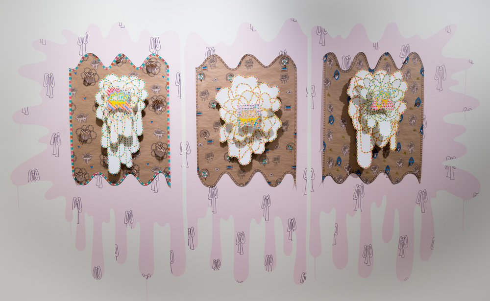Pomp & Pageantry #17, 18, and 19, 2018 site-specific arrangement, paper, watercolor, marker, house paint, craft paper, 9x6x1 ft