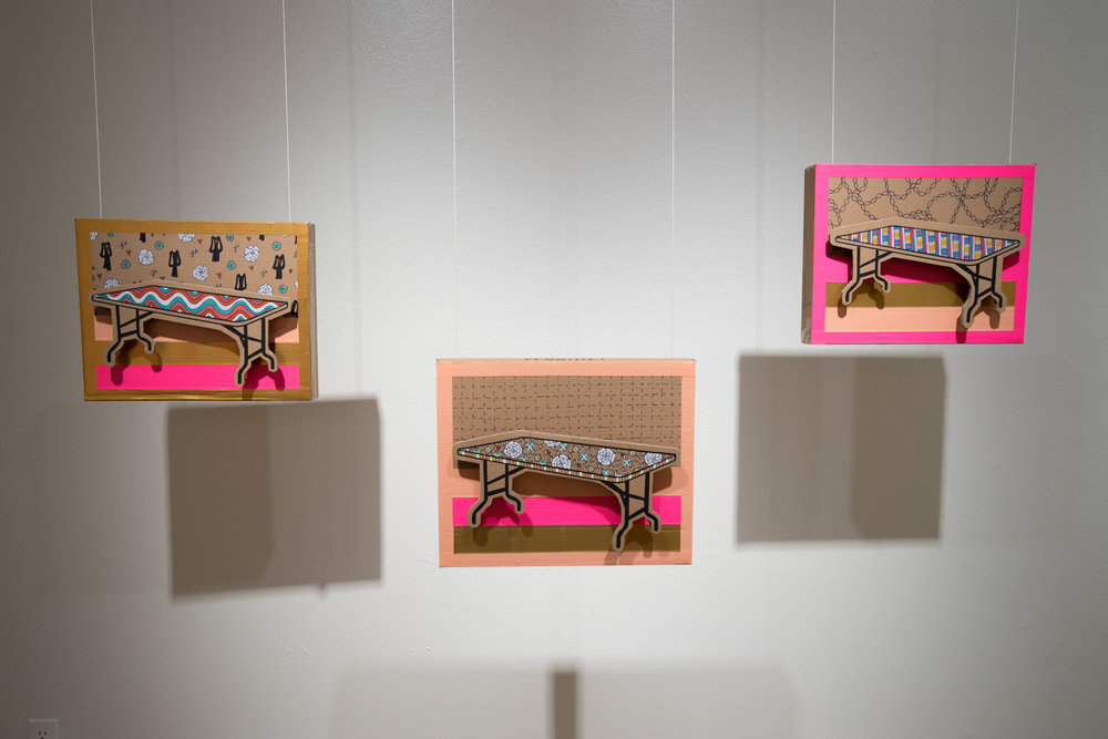 Folding Tables, 2017 cardboard, paint, marker, tape, string, 16x12 in each