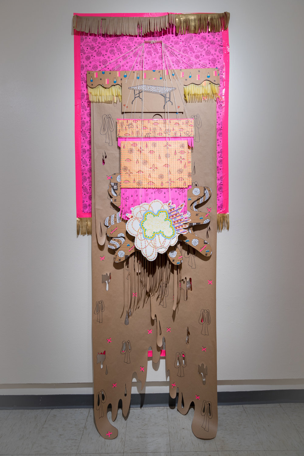 Clothes Rack (Failed Installation), 2017 craft paper, tape, marker, paint, watercolor, tracing paper, cardboard, photocopies, 10x4x1 ft
