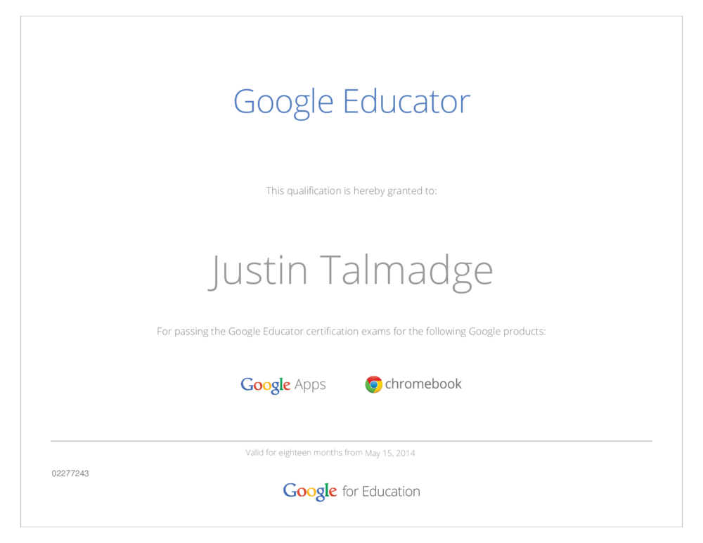 Im A Certified Google Educator Justin Talmadge Consulting