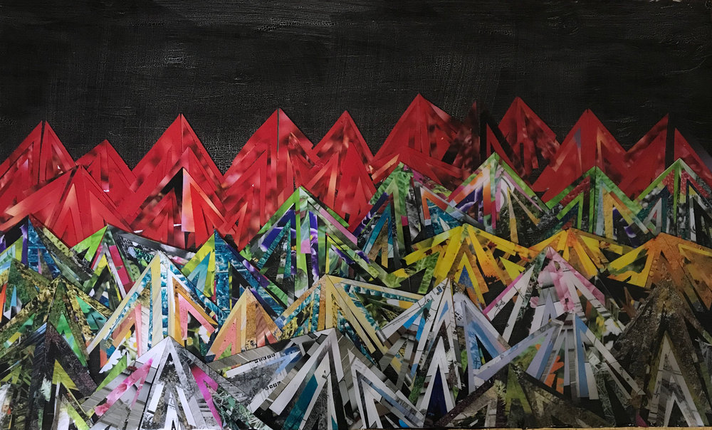 "The finished Mountainscape All layers complete, you can rest now. Mountain Deep 2019 14""x24"""