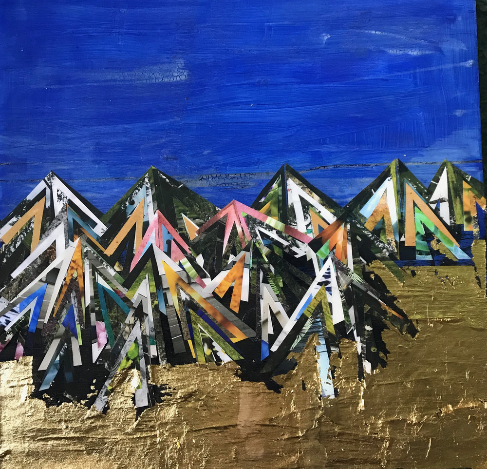 "Completed Moutainscape erupting in gold 2019. 18""x18"" Detail shots below"
