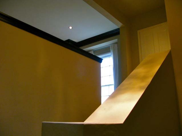 View from entry stairway to living room