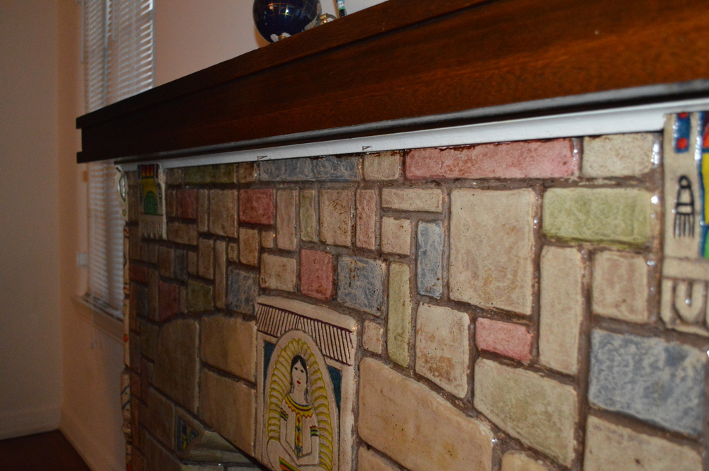 > Architectural mantel w/Batchelder tiles