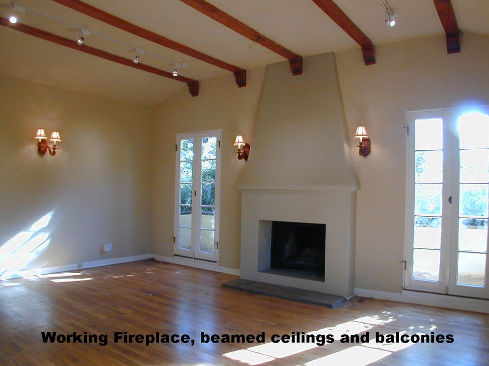 Small balcony off Living Room, working fireplace