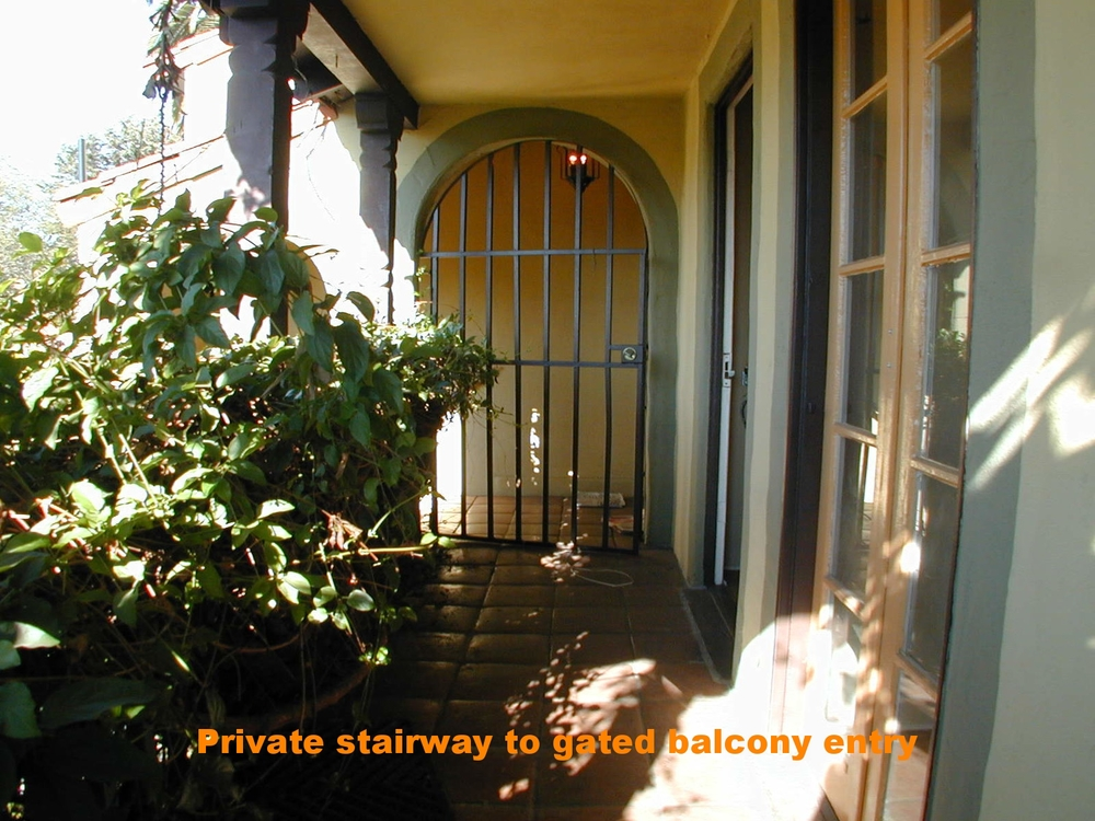 Entry balcony off dedicated stairway and gate
