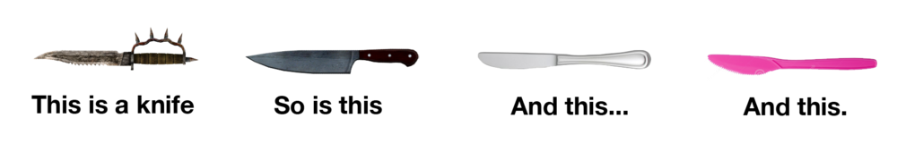Knife, n. A usually sharp blade attached to a handle that is used for cutting or as a weapon.
