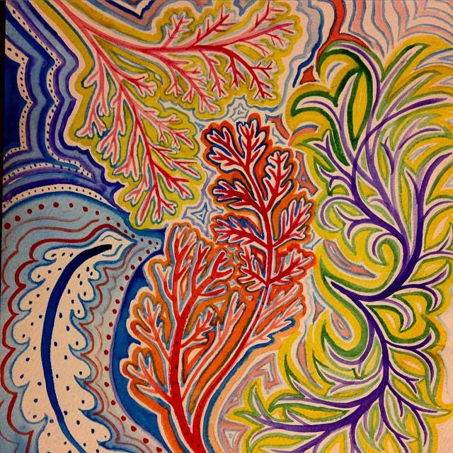 A watercolor inspired by the patterns found in capillaries and leaves