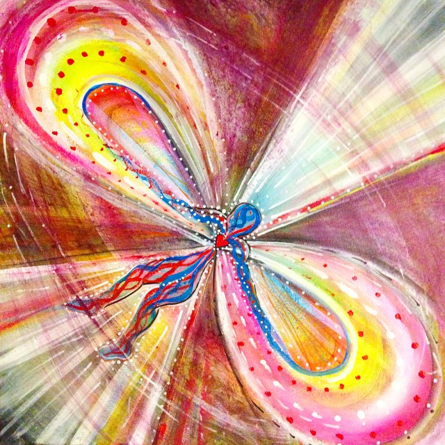 "Cardiac EMP shows what it might look like to love the world so much that your heart overcharges and bursts into a pulse of electromagnetic love that destroys all evil. Acrylic on canvas, 24"" x 24"""
