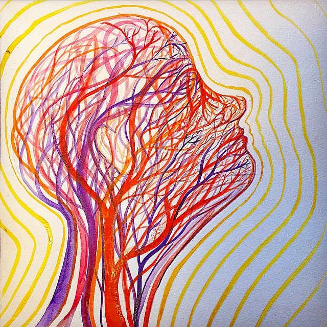 "BioRadiance  depicts the vasculature of the head and the radiant energy we produce  Ink on paper, 12"" x 12"""