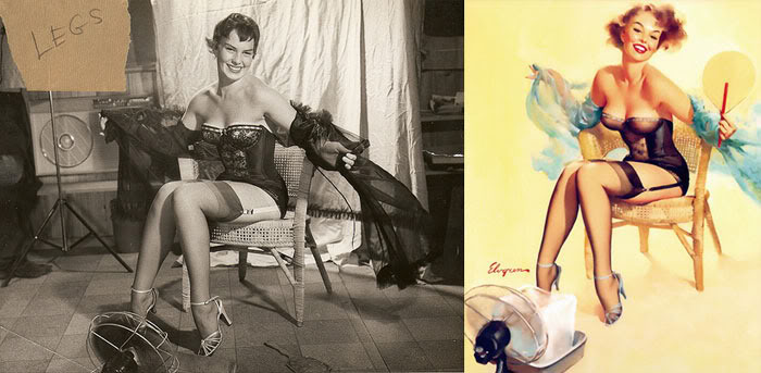 Air brushing is far from new - how it was done in 40/50s pin up girl advertising