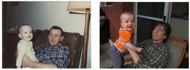 Recreating photos from your parents albums - Like Mom Like dad