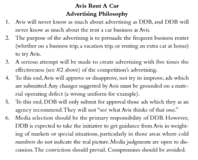 Bernbach's advertising contract with Avis