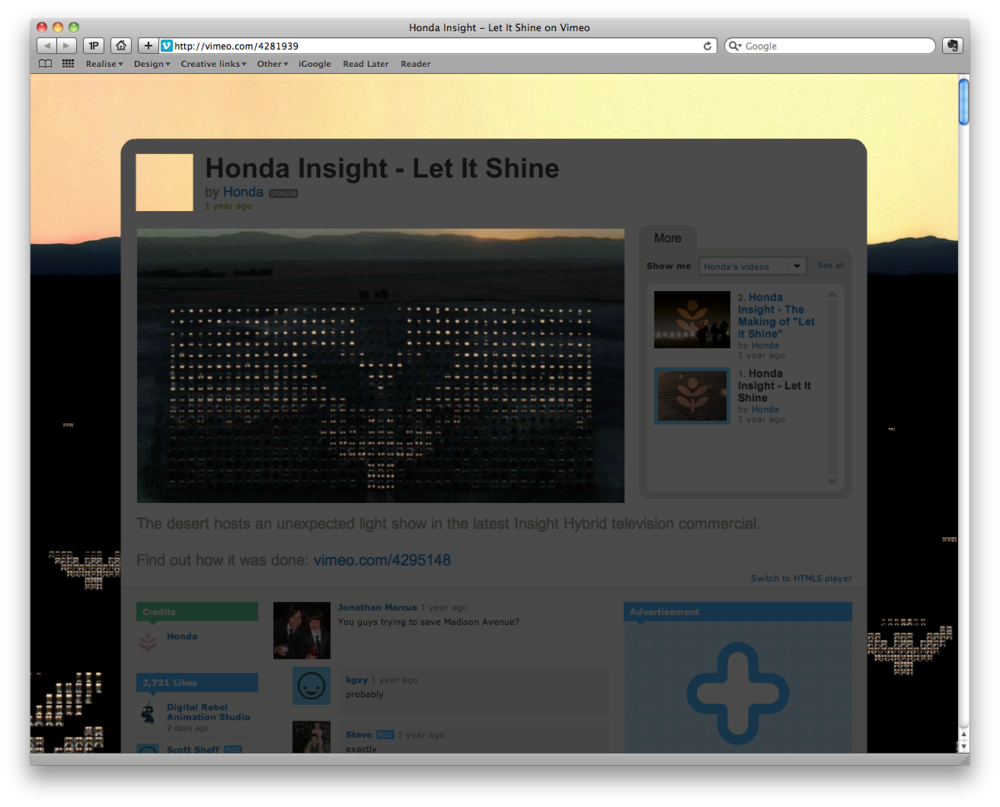 Honda with W+K make the worlds largest LED screen... with cars