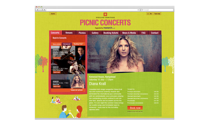 Bright and fresh illustration for English Heritage Picnic Concerts, Print and online design by Newcastle's Sumo
