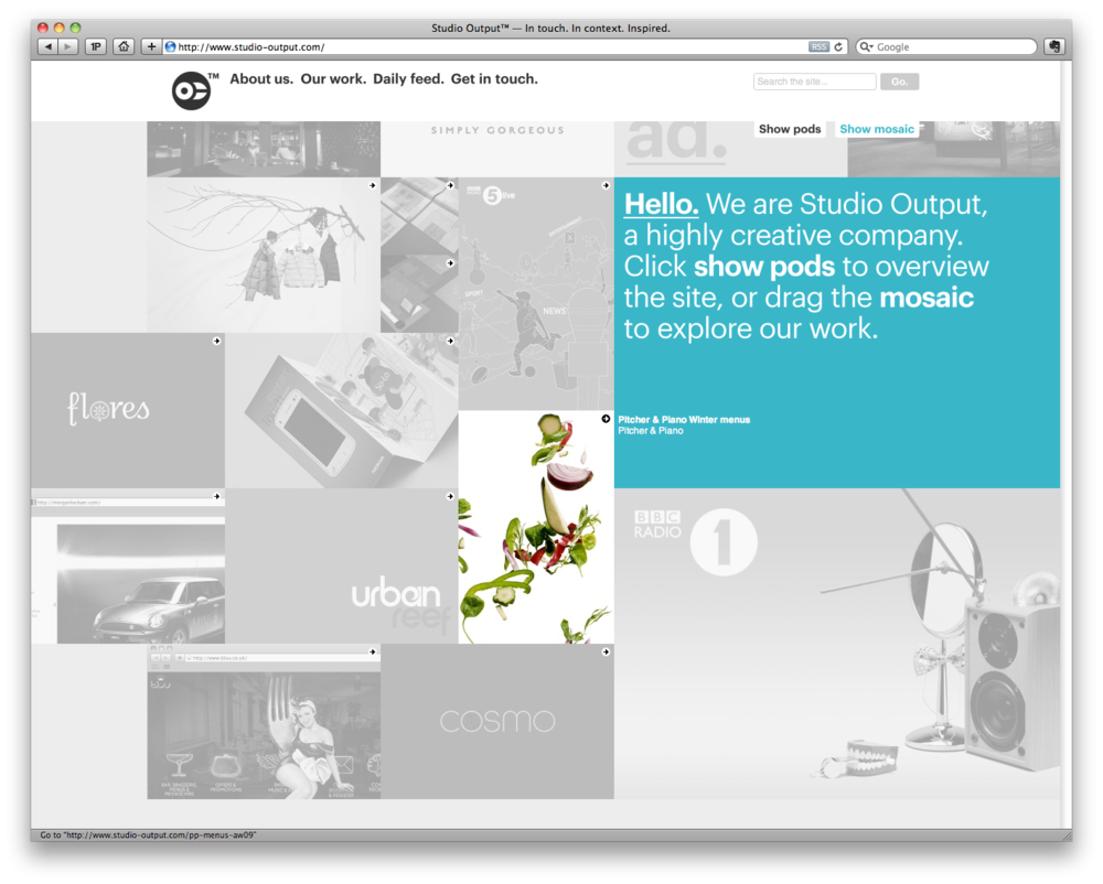 London agency 'Studio Output' have a new website, but its their portfolio thats worth looking at