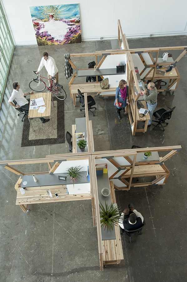 "Modular  ""Hive"" workstation made of salvaged wood. © Abeo Design"