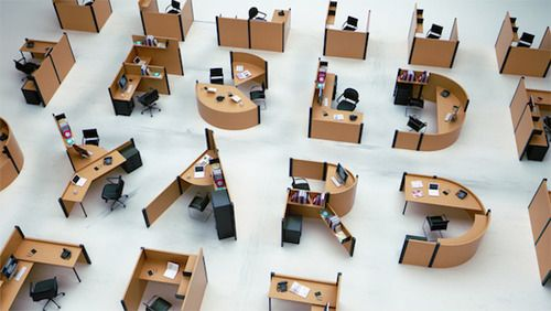 Speaking of personalization: consider the Typographic group of desks by Benoit Challand.  Imagine all the different set-ups you could create.  Each employee gets the desk representing the letter of his or her first name.  Or the cubicles spell the company name and logo. Or assemble clusters of the same letters: D for design, E for engineering, S for support.
