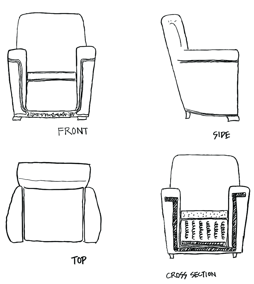These are my sketches of a vintage chair. You can see the front, side, top and cross-section of the chair.